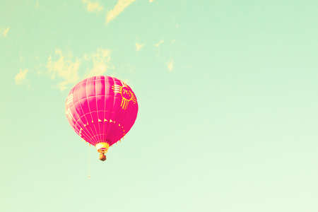 hot love: Vintage hot air balloons flying in mint sky