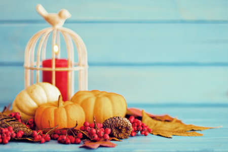 Pumpkins and red candle over autumn leafs Stock Photo