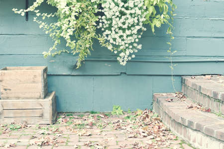 Vintage courtyard in autumn