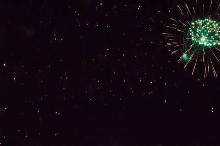 Vintage colorful fireworks in the night sky