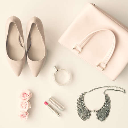 Vintage female fashion accessories in a Flat Lay