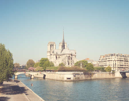 Notre Dame cathedral and Seine River