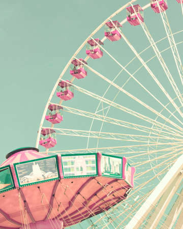 chain swing ride: Vintage ferris wheel and chain swing ride