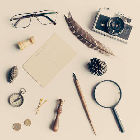 Vintage study items in a flat lay composition Banco de Imagens - 83416537