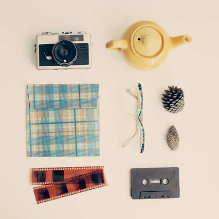 Vintage study items in a flat lay composition Banco de Imagens - 83416542