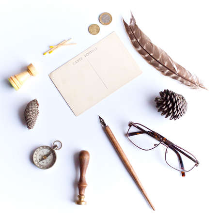Vintage study items in a flat lay composition