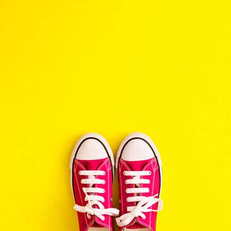 Vintage sneaker shoes in a flat lay composition Banco de Imagens - 83630500