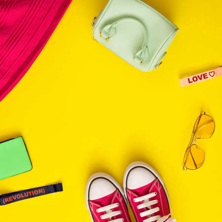 Vintage girly fashion items in a flat lay composition