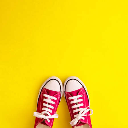 Vintage sneaker shoes in a flat lay composition Banco de Imagens - 83630506