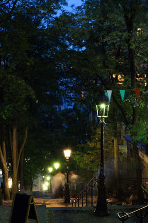 Rue Foyatier stairs in Montmartre at night