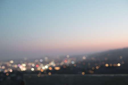 Los Angeles Skyline in bokeh at night Banco de Imagens
