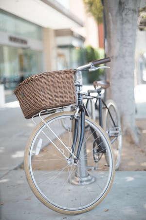 Bicycle in a street in Santa Monica, California Banco de Imagens