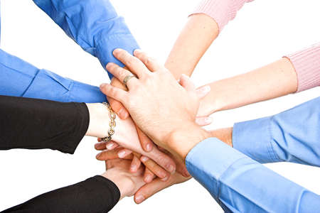 look for: team with arms together in cooperation to look for success - isolated over a white background