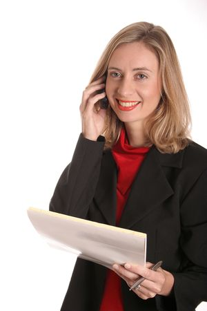 Young woman on mobile phone on isolated background photo