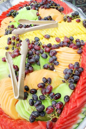 Assorted fruits on a platter photo
