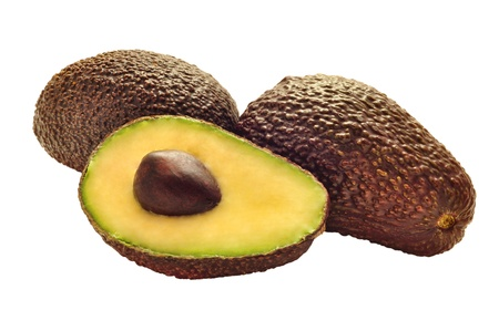 cut up avocado on pure white background