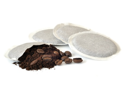 Coffee pods on white Backgrounds. Stock Photo