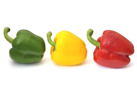 Peppers rot, yellow ,green isolated  on white Background. Stock Photo