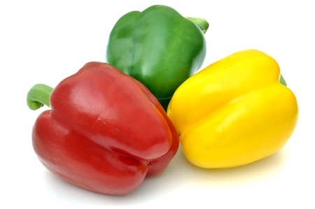 Peppers rot, yellow ,green isolated  on white Background. Reklamní fotografie