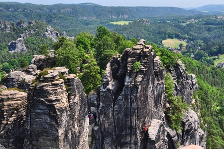 Saxon Switzerland in Germany, in a sunny day. Stock Photo