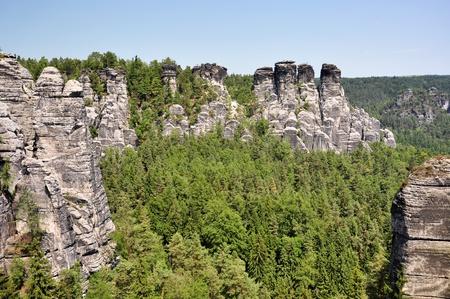 bazalt: Saxon Switzerland in Germany, in a sunny day. Stock Photo