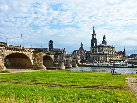 dresden: Panorama of Dresden from river bank of Elba
