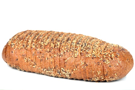 Bread with sunflower seeds on a white background.
