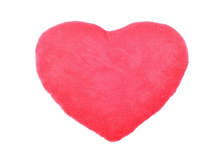 cushion in the form of a red heart. Stock Photo
