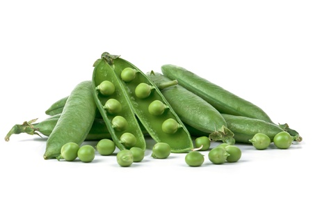clr: Fresh juicy Pods of peas on a white background. Stock Photo