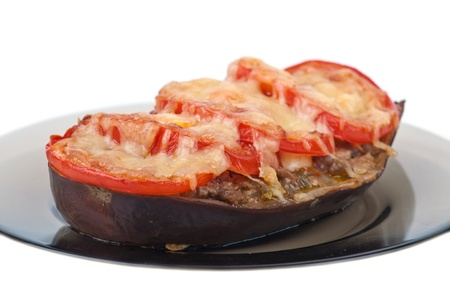 The stuffed eggplant with tomatoes and cheese.