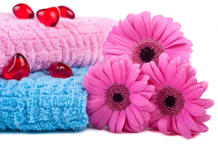 Colour towels on white background