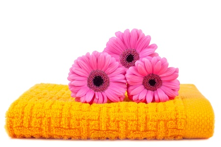 Colour towels on a white background decorated with flowers