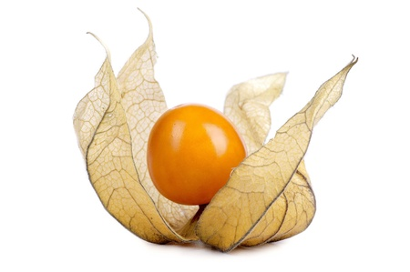 Slice fresh physalis on white background