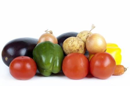 A set of fresh vegetables on white
