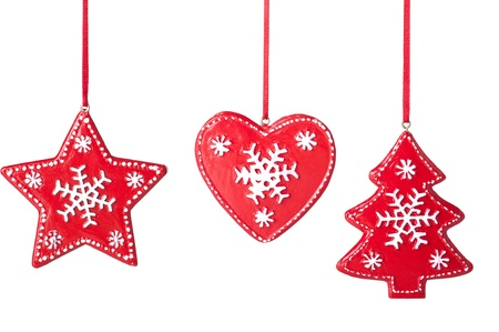 Christmas star, tree, heart  on a white background