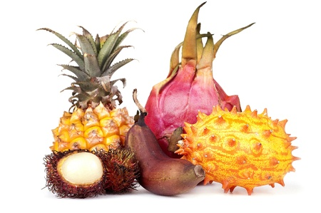 caribbean drink: Exotic fruit, ananas,red banana, Pitahaya, kiwano, rambutan on white Background Stock Photo