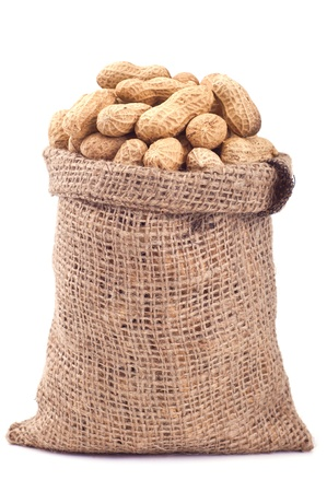 Peanut in a bag on a white background Stock Photo - 14294320