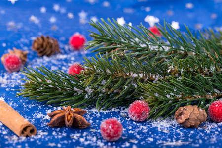 Christmas decoration  on blue background Stock Photo