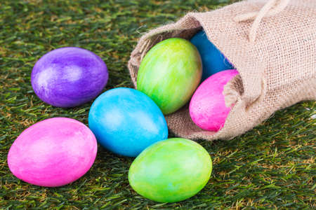 Easter eggs  on a background of grass photo