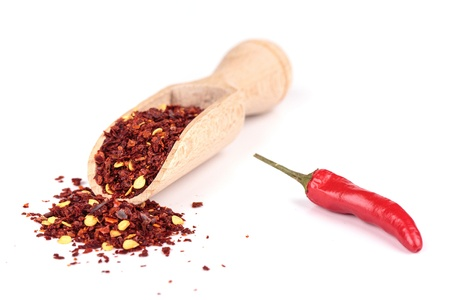 Red hot pepper powder on white background