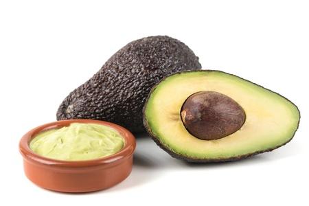fresh,ripe  avocado on a white background