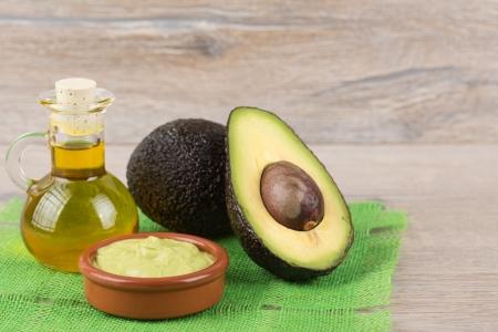 fresh, ripe avocado on a wooden background