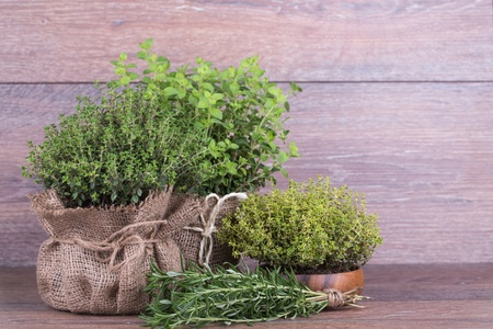 Fresh herbs in bag  on wooden background Stock Photo