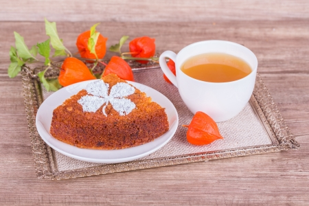 Fresh Homemade Pumpkin Pie with Physalis  on wooden background photo