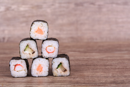 Sush and Roll with Cream Cheese and Cucumber inside