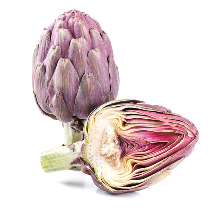 fresh exotic purple artichoke on white background Stock Photo