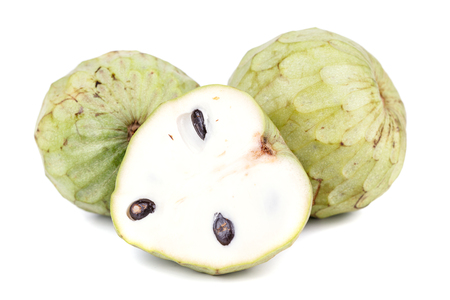 Tropical custard apple fruit on white background Stock Photo
