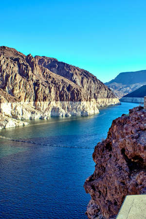 View of the Hoover Dam in Nevada, USA. Stock Photo