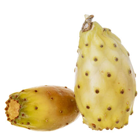 Various cactus fruit, isolated on a white background.