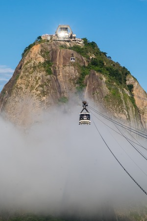 Sugarloaf in the middle of the clouds, Rio de Janeiro, Brazil Stock Photo